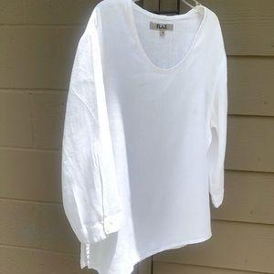 FLAX lightweight linen top. 3/4 sleeves. EUC